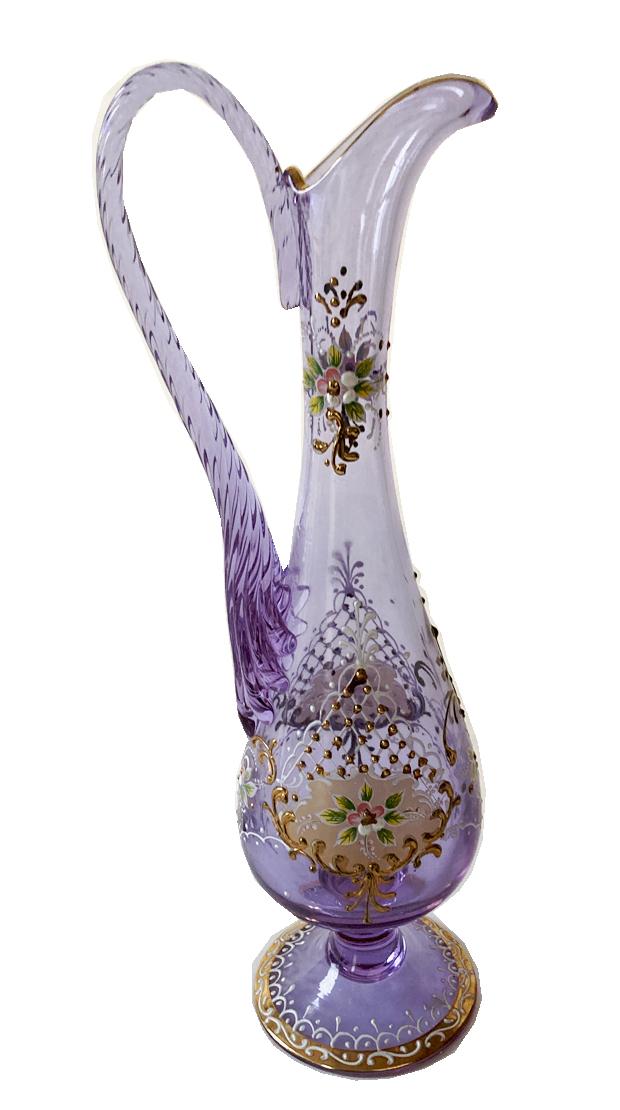 ヴィンテージ ボヘミアクリスタル ネオジウムガラス フラワーベース 高さ35cm