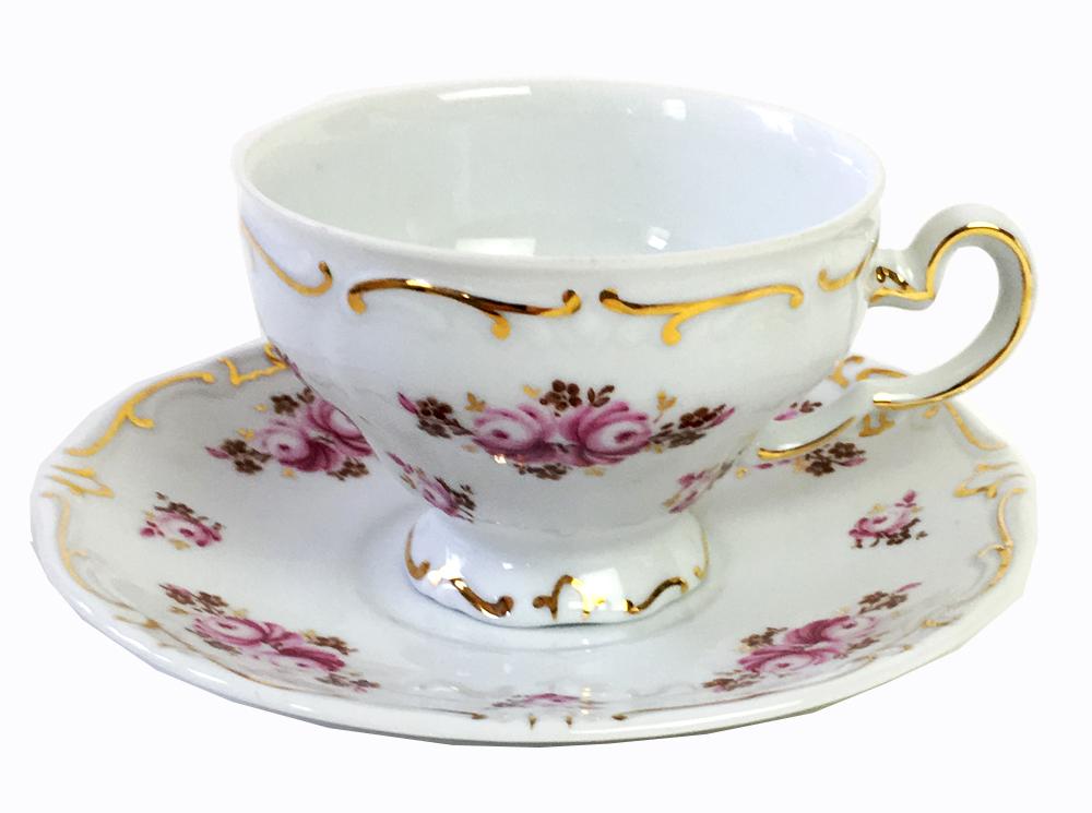 ヴィンテージ WEIMAR ワイマール (ドイツ)陶器  ピンク バラのコーヒーカップ&ソーサー