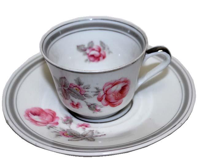 フランスアンティーク リモージュ L.T.France バラのコーヒーカップ&ソーサー