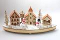 北欧風 木製タウンライト ウッドスノーマン 電池式 クリスマス雑貨