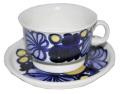 廃番 アラビア ARABIA  青い花のティーカップ&ソーサー