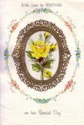 アンティークカード ゴールドの額縁バラのノートカード(イギリス)