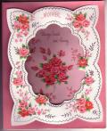 アンティークカード ピンクローズの3Dートカード(イギリス)