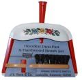 ヴィーンテージ J.V.Reed社 (USA) 赤ブリキダストパン&ブラシセット フォークアート柄