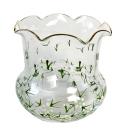 ヴィンテージ クリスタルエナメル絵付け 白い小花のスモールフラワーベース 花入れ 高さ8cm
