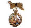 フランスアンティーク 懐中時計型エナメル錬り香水入れのブローチ
