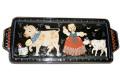 ヴィンテージ スイス AEBI HASLE + TRYBSCHACHEN(Adolph Burkart) ハンドペイント陶器 サンドイッチトレイ B品