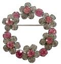 ヴィンテージ ピンクのカットガラスフラワーリースブローチ USA