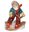 昭和20-30年代 瀬戸陶器 USA輸出用 フンメル風 スキーをする少年