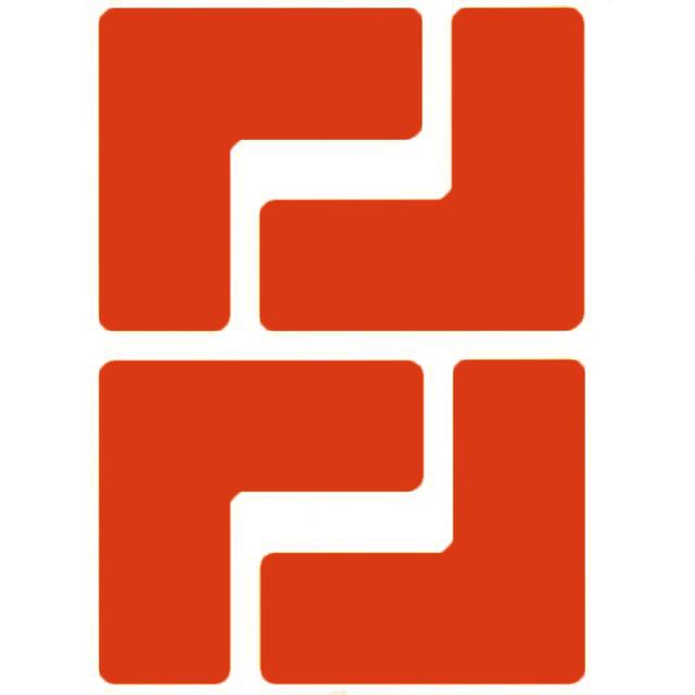 フロアマーキングテープ コーナーマーク用 L字型-20枚/セット B-514 赤 50.8mm x 127mm