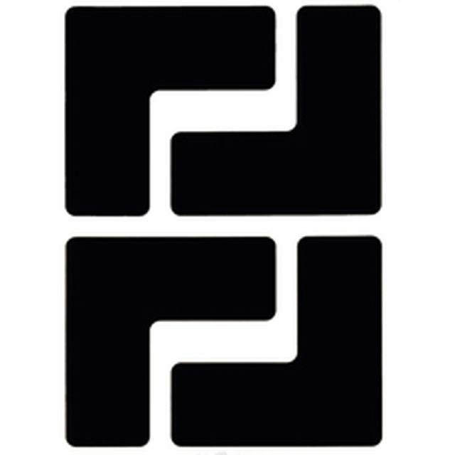 フロアマーキングテープ コーナーマーク用 L字型-20枚/セット B-514 黒 50.8mm x 127mm