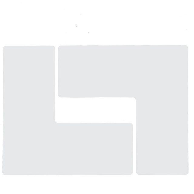 フロアマーキングテープ コーナーマーク用 L字型-20枚/セット B-514 白  76.2mm x 203.2mm