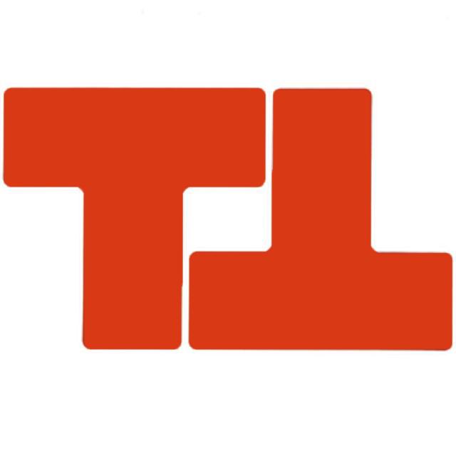 フロアマーキングテープ 仕切りマーク用 T字型-20枚/セット B-514 赤 76.2mm×203.2mm
