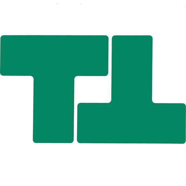 フロアマーキングテープ 仕切りマーク用 T字型-20枚/セット B-514 緑 76.2mm×203.2mm