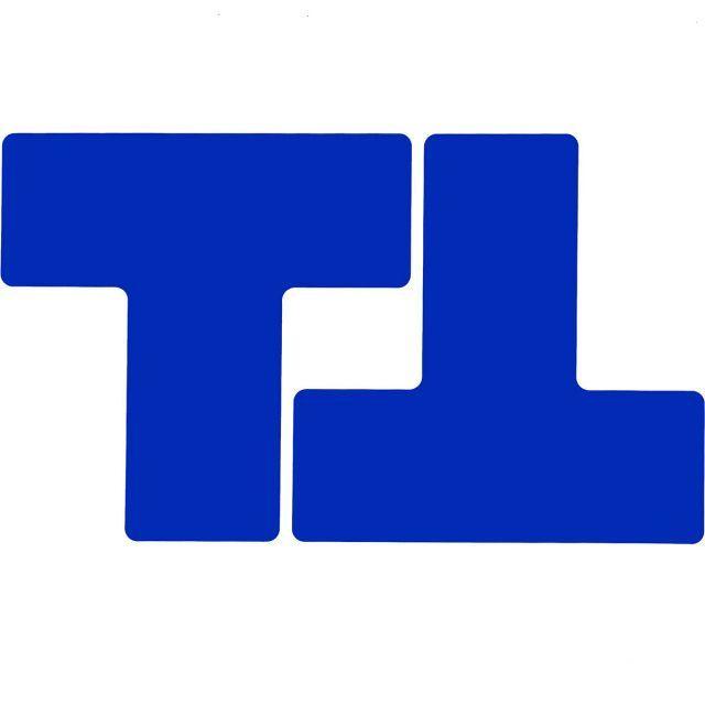 フロアマーキングテープ 仕切りマーク用 T字型-20枚/セット B-514 青 76.2mm×203.2mm