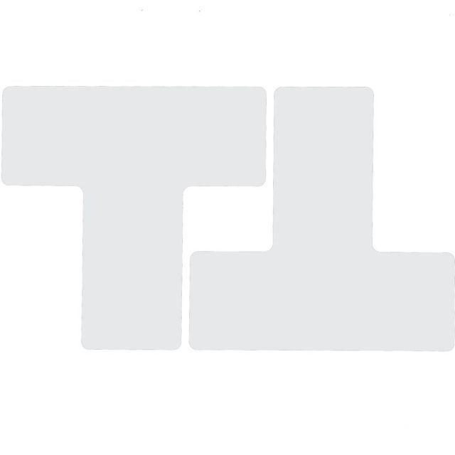フロアマーキングテープ 仕切りマーク用 T字型-20枚/セット B-514 白 76.2mm×203.2mm