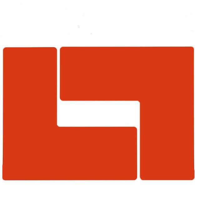 フロアマーキングテープ コーナーマーク用 L字型-20枚/セット B-514 赤 101.6mm x 254mm
