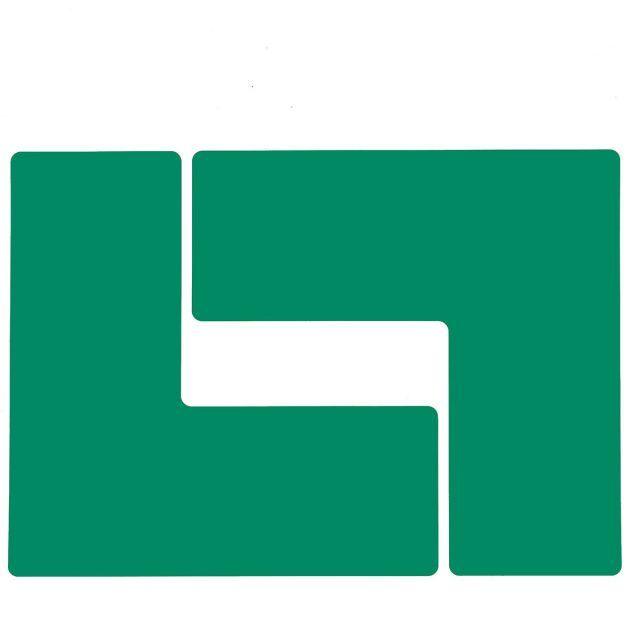 フロアマーキングテープ コーナーマーク用 L字型-20枚/セット B-514 緑 101.6mm x 254mm