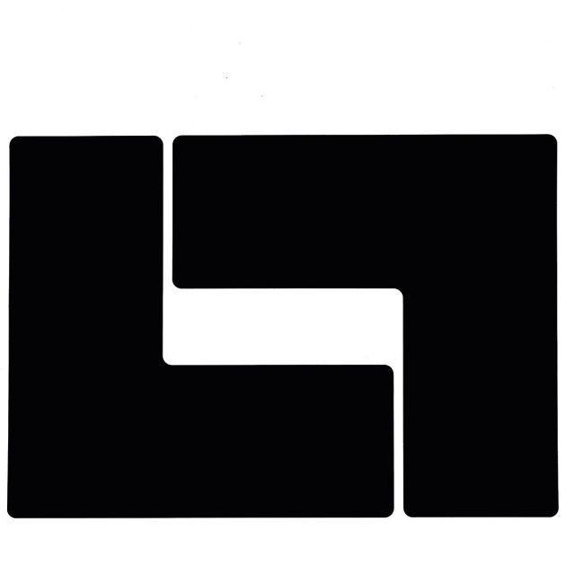 フロアマーキングテープ コーナーマーク用 L字型-20枚/セット B-514 黒 101.6mm x 254mm