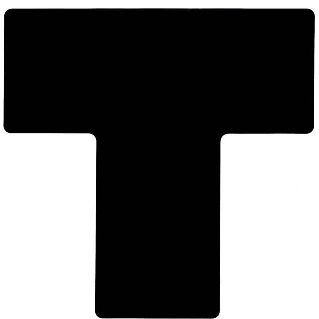 フロアマーキングテープ 仕切りマーク用 T字型-20枚/セット B-514 黒 101.6mm×254mm