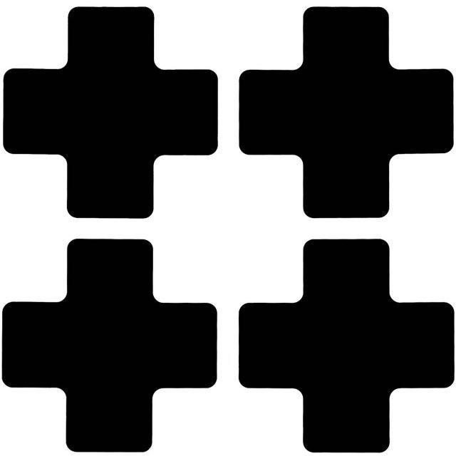 フロアマーキングテープ センターマーク用 十字型-20枚/セット B-514 黒 50.8mm x 127mm