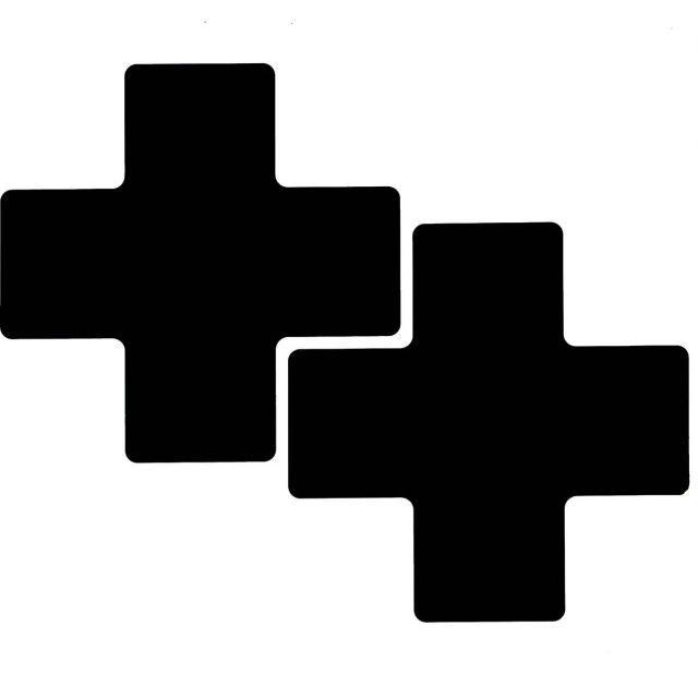 フロアマーキングテープ センターマーク用 十字型-20枚/セット B-514 黒 76.2mm x 203.2mm