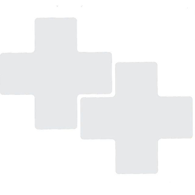 フロアマーキングテープ センターマーク用 十字型-20枚/セット B-514 白 76.2mm x 203.2mm