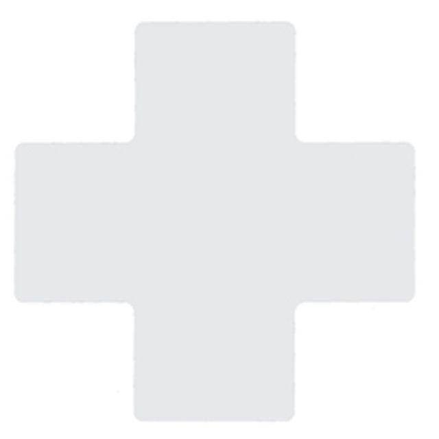 フロアマーキングテープ センターマーク用 十字型-20枚/セット B-514 白 101.6mm x 254mm