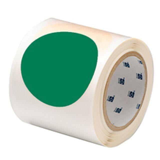 等間隔設定済 フロアマーキングテープ (457.2mm間隔) B-514 緑 88.9mm x 30.48m ドット 55枚