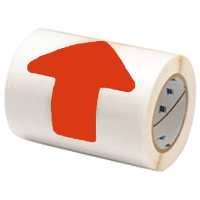 等間隔設定済 フロアマーキングテープ (457.2mm間隔) B-514 赤 50.8mm x 127mm x 30.48m 矢印型 52枚