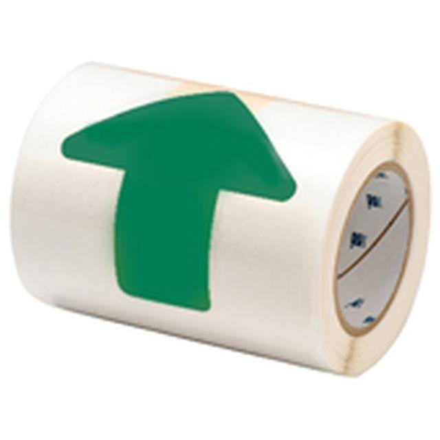 等間隔設定済 フロアマーキングテープ (457.2mm間隔) B-514 緑 50.8mm x 127mm x 30.48m 矢印型 52枚