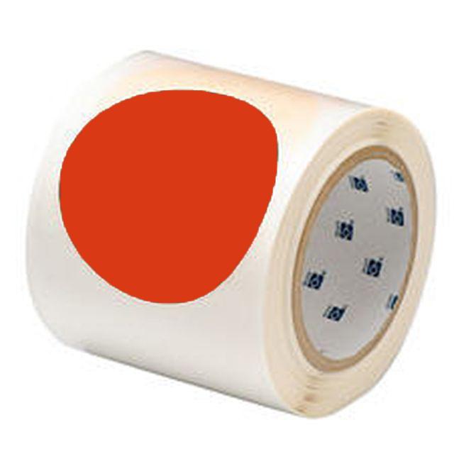 等間隔設定済 フロアマーキングテープ (457.2mm間隔) B-514 赤 88.9mm x 30.48m ドット 55枚