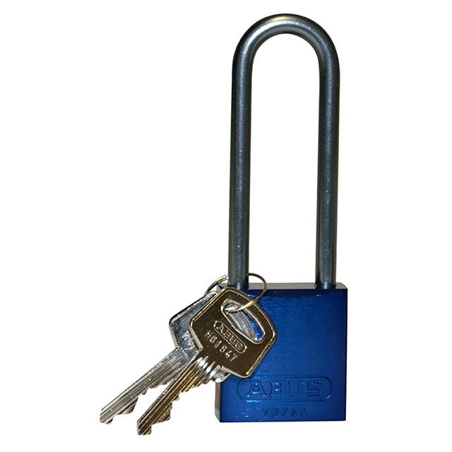 アルミニウムパドロック  掛け金長 76.2mm 青