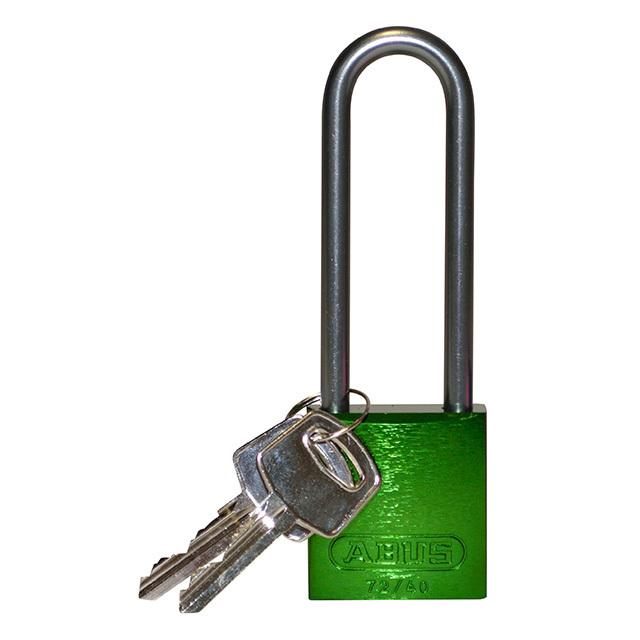 アルミニウムパドロック  掛け金長 76.2mm 緑