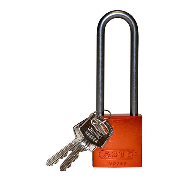 アルミニウムパドロック  掛け金長 76.2mm オレンジ