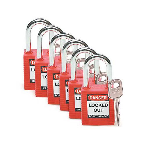 セイフティーパドロック 赤 6個セット【キーアライク】共通鍵タイプ