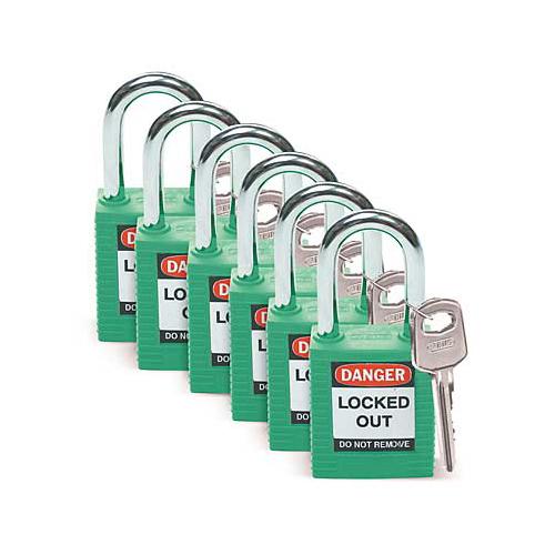 絶縁性パドロック(南京錠) 緑 6個入り