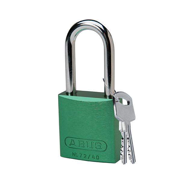 アルミニウムパドロック 掛け金長 38.1mm 緑