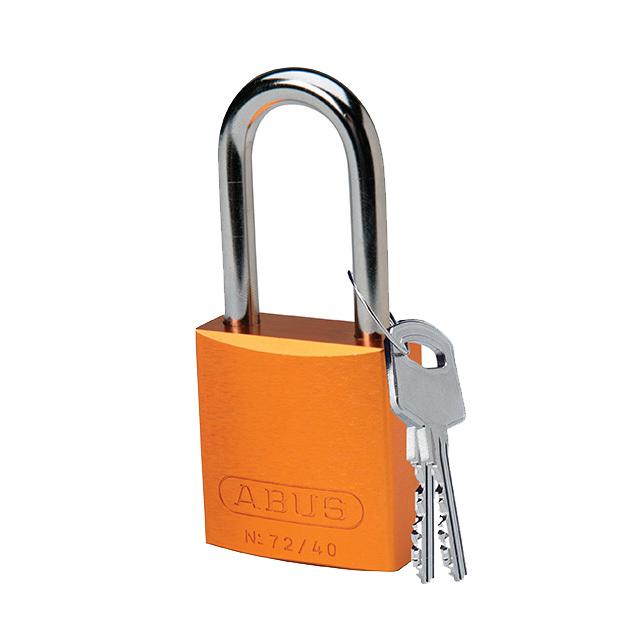 アルミニウムパドロック 掛け金長 38.1mm オレンジ
