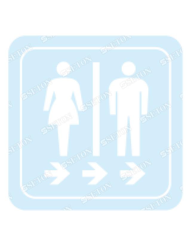フロア・サインマークシール オリジナル トイレ2白(右) 言語表記なし 140×140mm