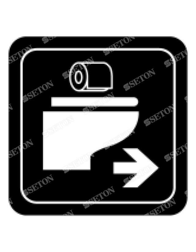 フロア・サインマークシール オリジナル トイレ3黒(右) 言語表記なし 140×140mm