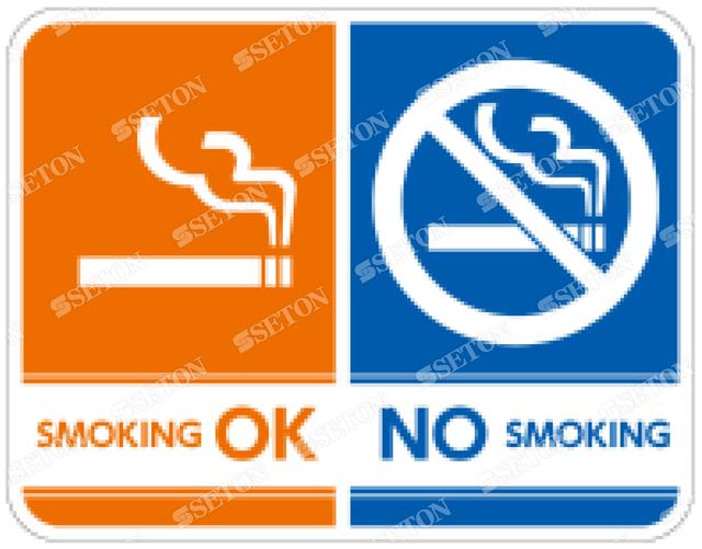 フロア・サインマークシール オリジナル OK/NO SMOKING 言語表記なし 140×140mm