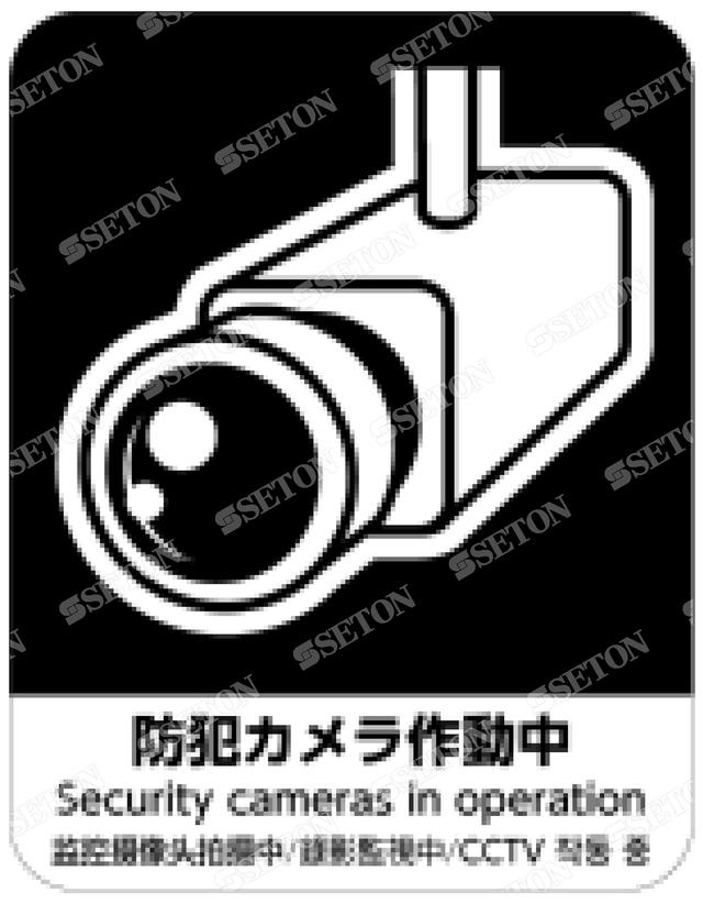 フロア・サインマークシール オリジナル 防犯カメラ黒 言語表記あり 140×180mm