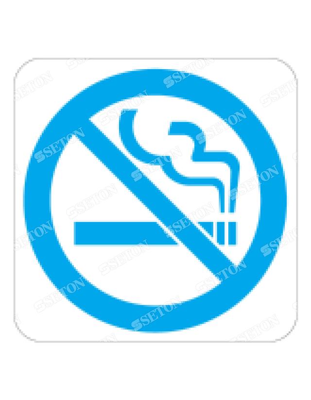 フロア・サインマークシール オリジナル 禁煙 水色 言語表記なし 140×140mm