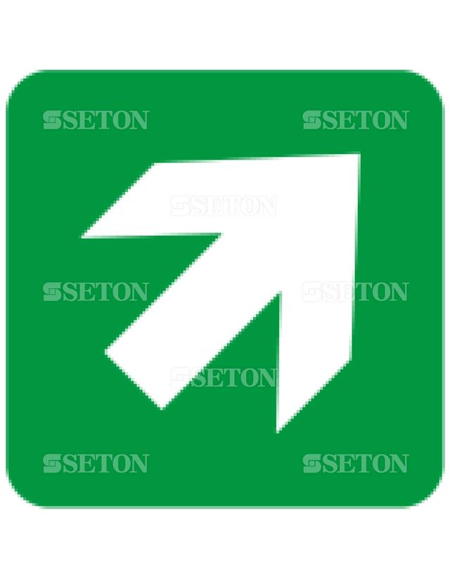 フロア・サインマークシール ISO 矢印45緑 言語なし 140×140
