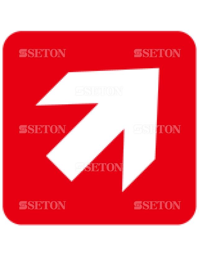 フロア・サインマークシール ISO 矢印45赤 言語なし 140×140