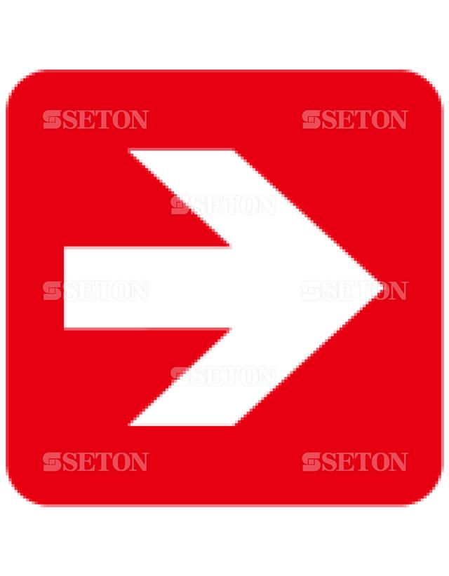 フロア・サインマークシール ISO 矢印90赤 言語なし 140×140