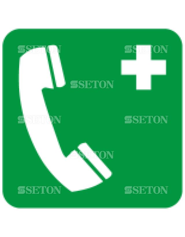 フロア・サインマークシール ISO 緊急電話 言語なし 140×140