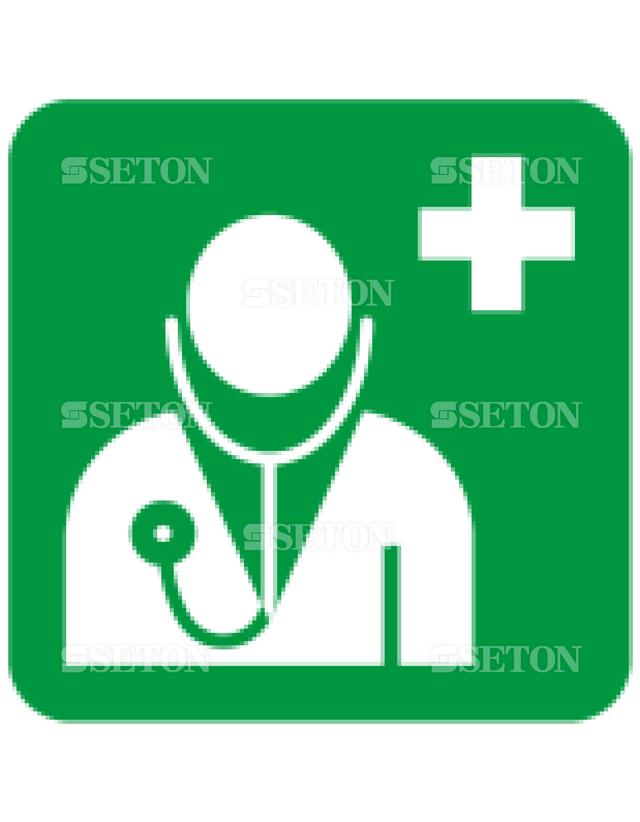 フロア・サインマークシール ISO 医者(救護所) 言語なし 140×140