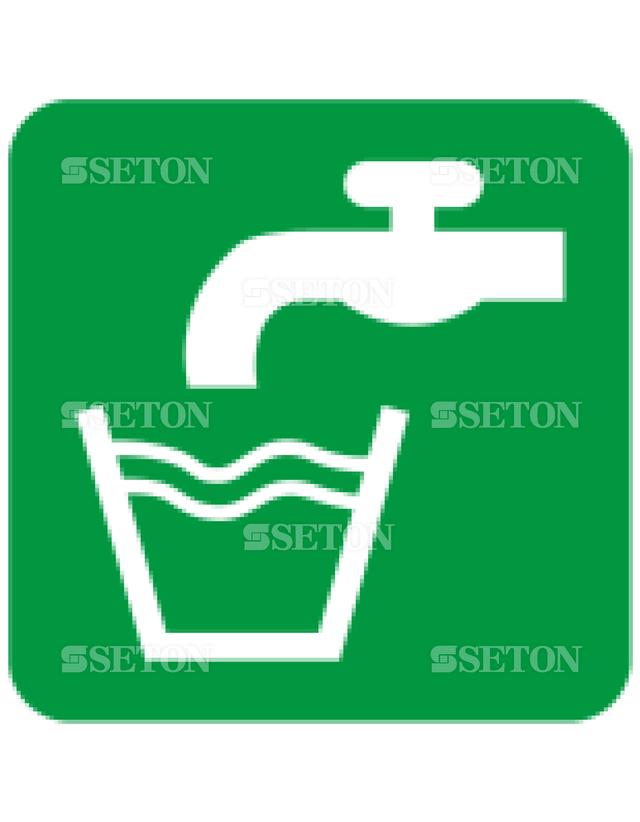 フロア・サインマークシール ISO 飲料水 言語なし 140×140